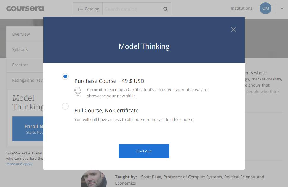 Вартість курсу Model Thinking